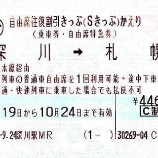 JR北海道自由席特急券 深川→札幌