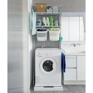 洗濯機ラック(ディノス・パイプ幅1.2cm すき間に収まるランド...