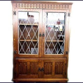 ルーマニア アンティーク 家具 食器棚 ダークブラウン W136...