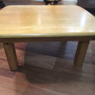 折りたたみローテーブル 天然木 座卓