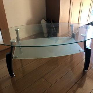 オーバル型 ガラステーブル センターテーブル リビングテーブル ...