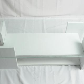 【2694】 テーブル 透明ガラス ホワイト ローテーブル