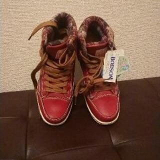 BOBSON 新品 未使用  赤  シューズ  靴