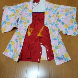 巫女風 袴ロンパース 90