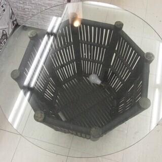 おしゃれ!丸型 ガラステーブル 照明付き NB670