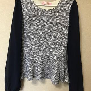 秋物袖がオーガンジーのセーター
