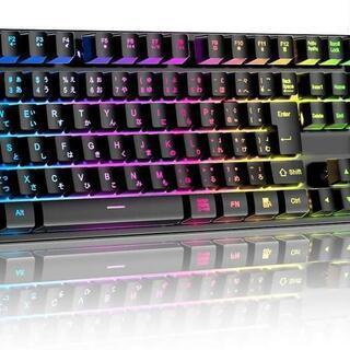 ゲーミングキーボード 7色LED 防水