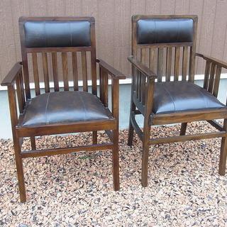 木製 アンティーク調 椅子 2客 モダンデザイン
