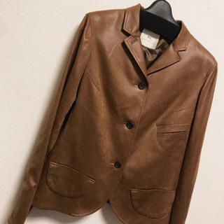 ブラウンコート ジャケット 皮  11号 l 長袖 レトロ 秋冬 高級