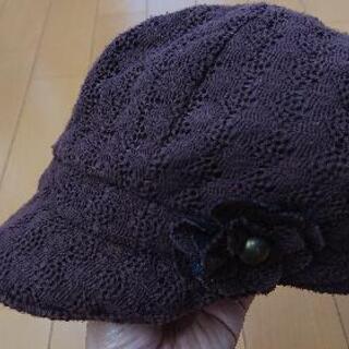 女児 秋冬用 レースのキャスケット 48cm