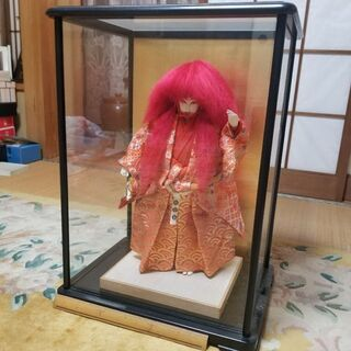 赤連獅子 ガラスケース付
