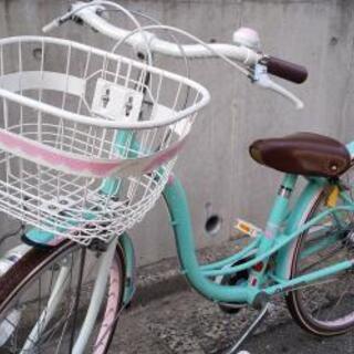 🚲️子供自転車 新古品 24inchミントグリーン 変速付