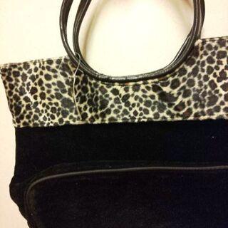 新品✨タグ付き ヒョウ柄 & 黒の内側ファスナー付き手提げbag