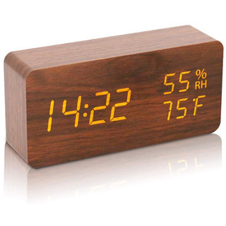 ⭐️LEDデジタル時計,お洒落な木目でインテリアに最適