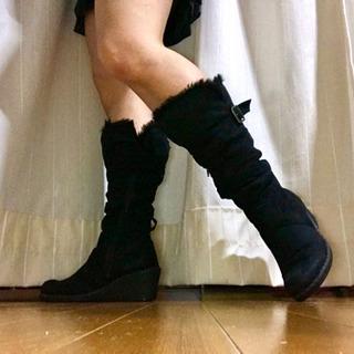 ellemenno ブラック ブーツ 6(23cm)