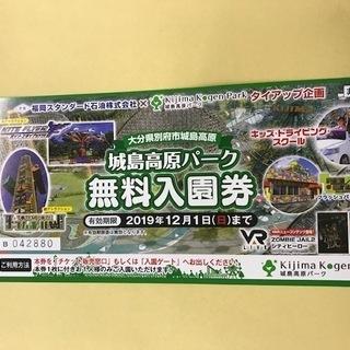 城島高原パーク無料入園券 4枚セット 12月1日まで