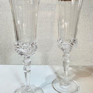 ベネチアンシャンパングラス金彩2ペア 高級 USED品