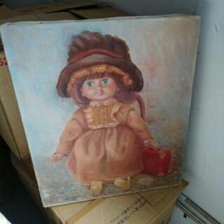 作者不明 油絵 ドール 人形 西洋 飾り
