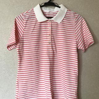ピンクストライプポロシャツ