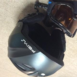キッズヘルメットとゴーグルのセット ブラック