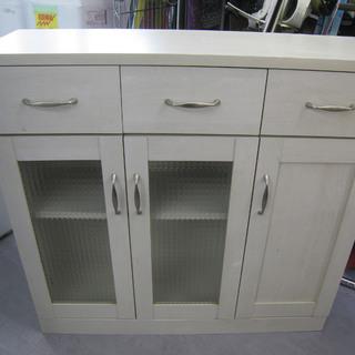 薄型食器棚 キッチン収納 ホワイト木目カラー  ロータイプ シェ...