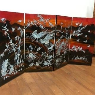 未使用保管品 漆塗り 螺鈿細工 屏風 衝立て 花鳥図 四曲