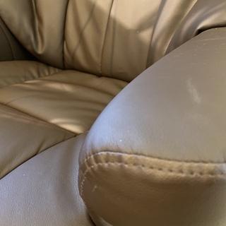 リクライニングチェア オットマン付き 茶 チェア 格安 中古品 - 家具