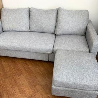 大きめでゆったり座れる3人掛けソファ! 目立つ汚れはなく綺麗は状態です