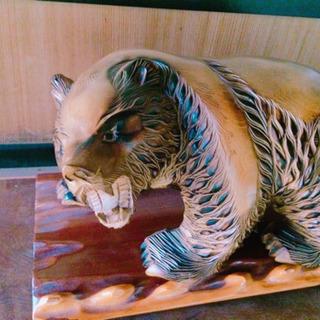 北海道産  熊の木彫り 台座付き