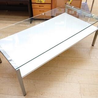 ☆センターテーブル ガラス天板☆ホワイト 白☆110×55×40...