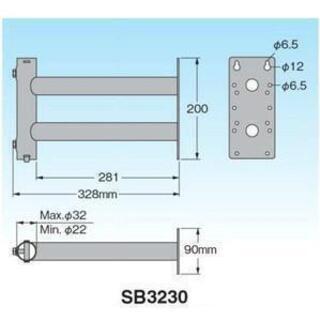 マスプロ 熔融亜鉛メッキサイドベース SB3230