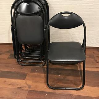 8個セット パイプ椅子 黒