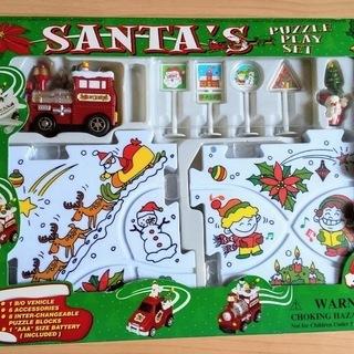 サンタのパズルトラックプレイセット-汽車のおもちゃとフロアパズル...