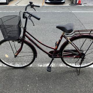 自転車 ママチャリ 赤マーブル模様