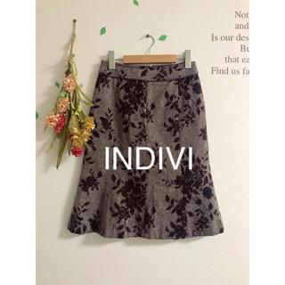 ☆INDIVI☆インディヴィ  ウールフラワー刺繍スカート