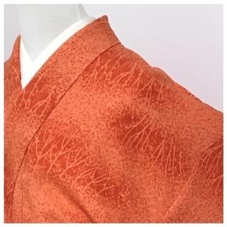 特選 美品 正絹 赤橙 袷 身丈155 裄64