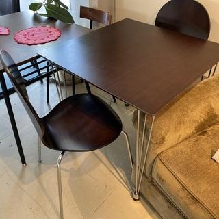 ダイニングテーブル3点セット テーブル チェア 茶 格安 中古品