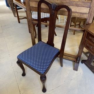 ハイバックチェア チェア 椅子 ネイビードット柄 アンティーク ヴィンテージ 中古品 - 宇都宮市