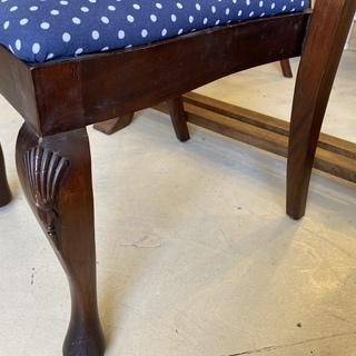 ハイバックチェア チェア 椅子 ネイビードット柄 アンティーク ヴィンテージ 中古品 - 売ります・あげます