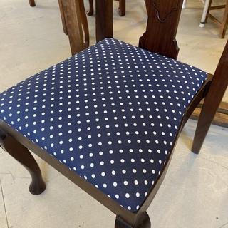 ハイバックチェア チェア 椅子 ネイビードット柄 アンティーク ヴィンテージ 中古品 - 家具