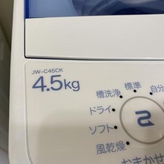 洗濯機 ハイアール Haier JW-C45CK 2017年製 4.5kg 中古品 − 栃木県