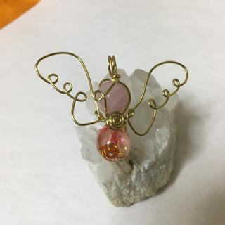 限定コラボ!ピンクの天然石&オルゴナイト 天使のペンダント