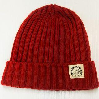 ニット帽子 濃い赤 チップとデール 56~58㎝ ぼうし