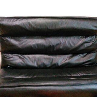 合皮 黒 リクライニングソファー 美品