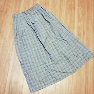 L ウエストゴムチェック柄ロングスカート