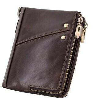 メンズ財布本革二つ折り 財布 大容量 ダブルジップコインケース