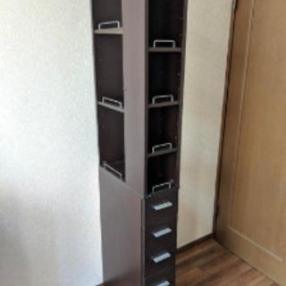 3方向から取り出せるすき間収納棚 20cm幅 ダークブラウン − 埼玉県