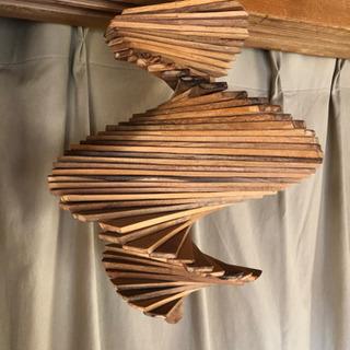 【アジアン雑貨】木のオブジェ 螺旋デザイン
