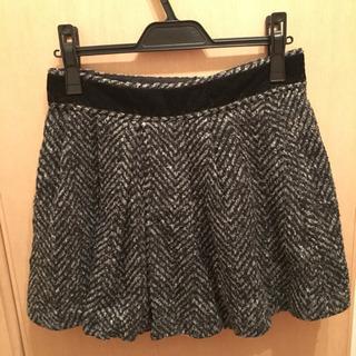 セシルマクビー ツイード フレアスカート 羊毛 黒×グレー ベロア