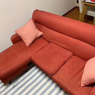 L字型ソファ 三人掛け 関家具 ニトリクッション二つ付き 柳川市